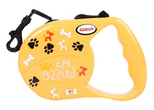 Laisse réfléchissante rétractable personnalisée de bande de chien de couleur pure de logo d'impression pour le petit chien