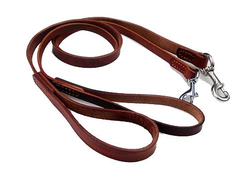 Laisse courte en cuir de vache simple et pratique avec ressort