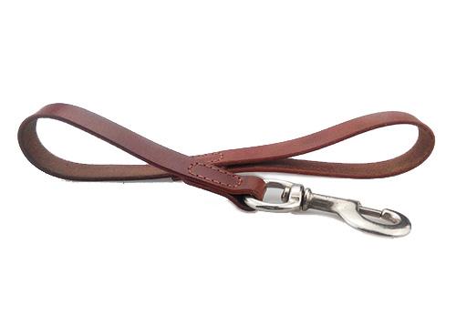 Laisse courte pour chien en cuir laminé véritable marron ronde 5/8 large pour les grandes races